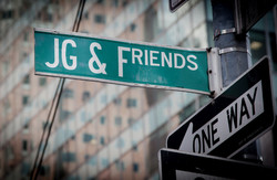 JG & Friends street crossing sign