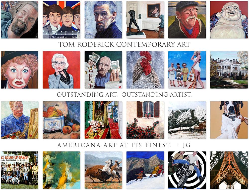 Boulder. Colorado Artist Tom Roderick collection of art pieces.