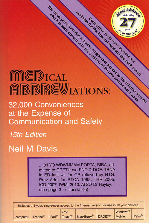 Medical Abbreviations, 15th Ed.
