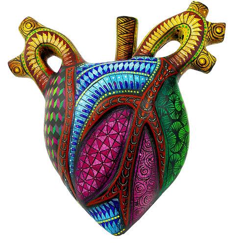 HUMAN HEART Oaxacan Wood Carving, Alebrije
