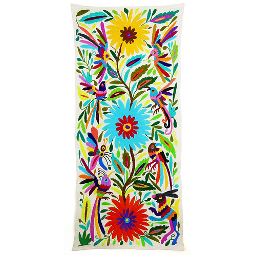 Embroidered  Otomi Tenango Wallhanging w BIRDs, Rabbit and Flowers