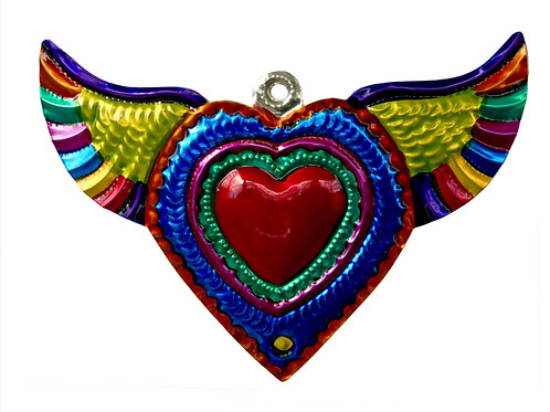Hand-Punched Tin Ornament Heart Milagro w Wings