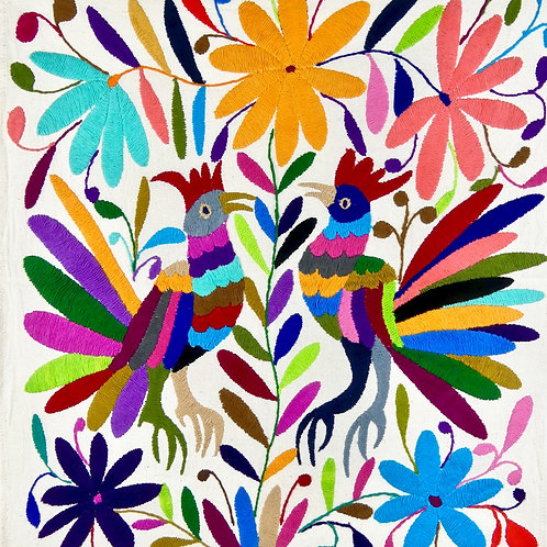 ROOSTERS Embroidered  Otomi Wallhanging