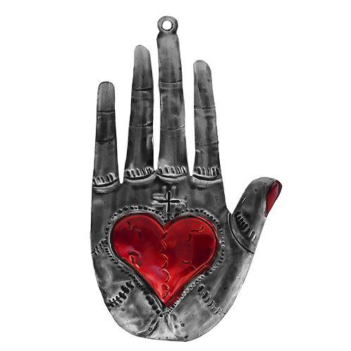 Punched Tin Sacred Milagro Heart in Hand Hamsa Fatima Ornament
