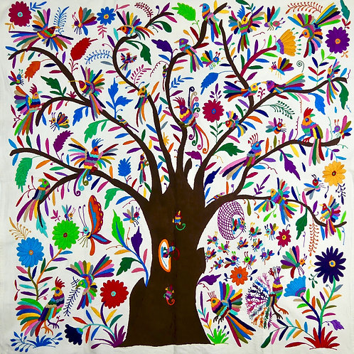 Tree of Life Embroidered Wall Hanging, Bird Animal & Nature, Mexican Folk Art