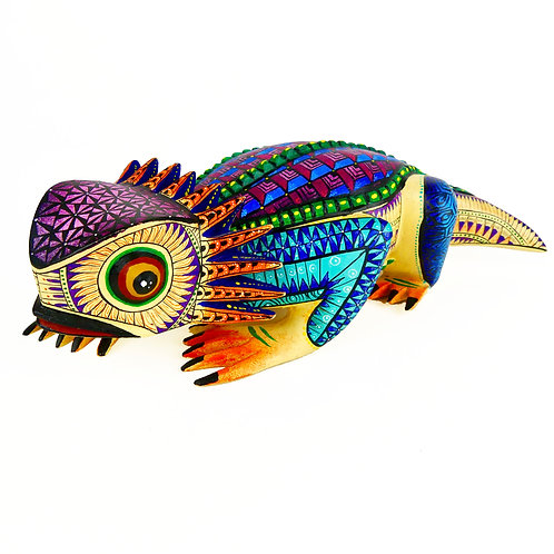 HORNED LIZARD Oaxacan Wood Carving, Alebrije