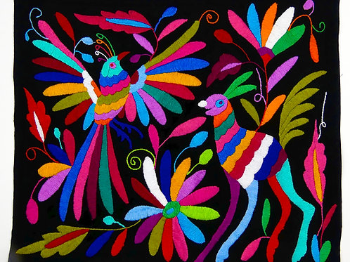 Embroidered Large Placemat Sized Otomi Textile, BIRD DEER