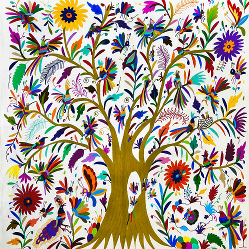 TREE OF LIFE Embroidered Wall Hanging, Birds Animals  Nature
