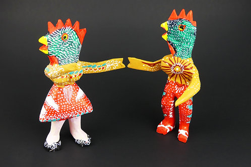 Dancing Chickens Oaxacan Wood Carving, Alebrije