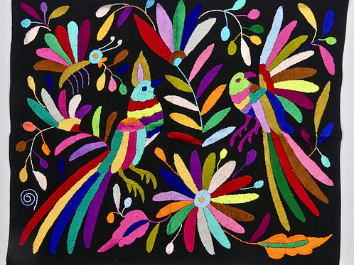 BIRDS Embroidered  Otomi Wallhanging