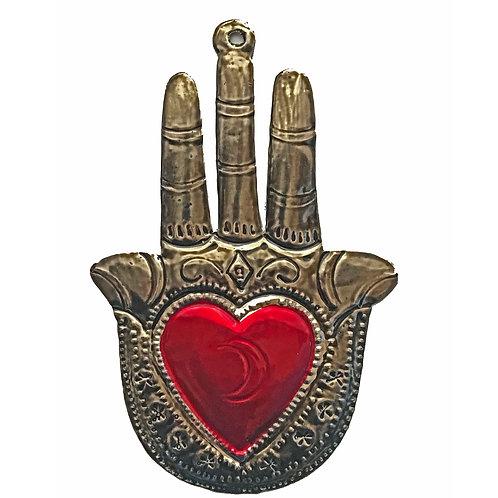 Punched Tin Sacred Milagro Hamsa Fatima Ornament