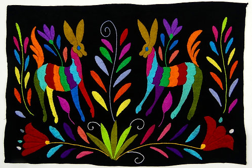 Embroidered Placemat Sized Otomi Textile, DEER