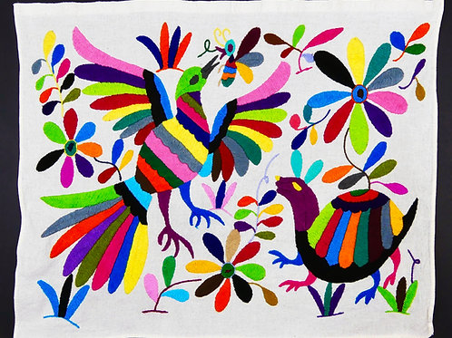 Embroidered Placemat Sized Otomi Textile, Dove, Armadillo, Bee