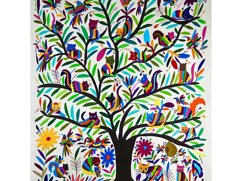 Cat Tree of Life Embroidered Wall Hanging, Bird Animal & Nature, Mexican