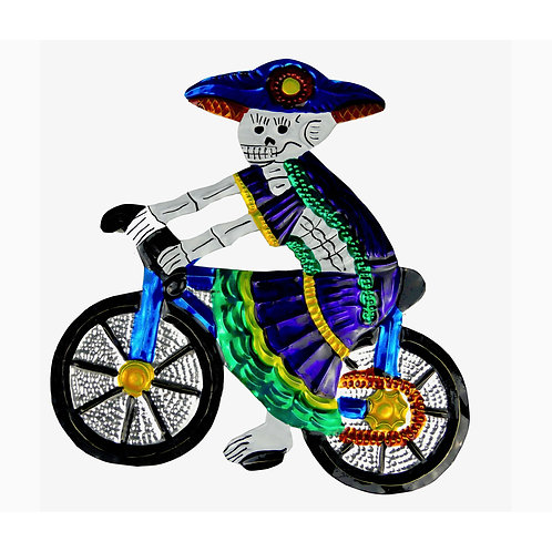Day of The Dead Catrina on Bicycle Punched Tin Ornament