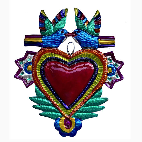 Hand-Punched Tin Ornament Heart Milagro w Doves, Love Birds