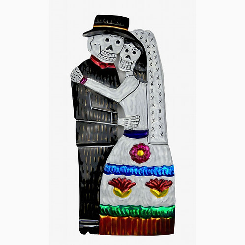 """Day of the Dead, Bride and Groom Punched Tin Ornament 9"""""""