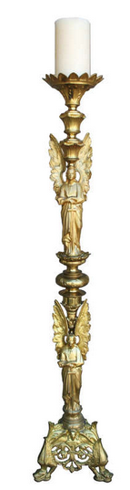 Gilt Bronze Candlestick w angles