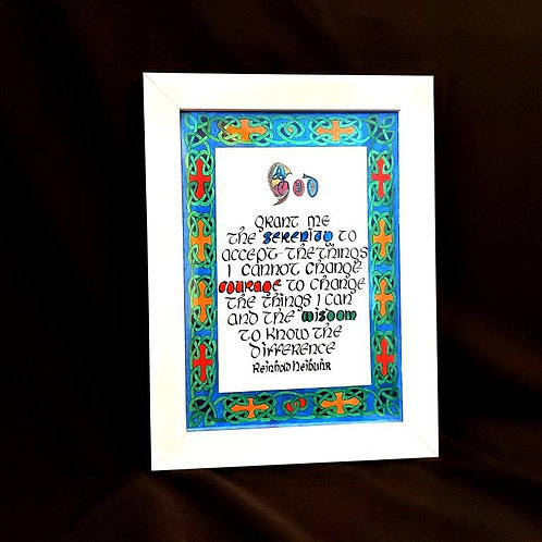 'Serenity Prayer', framed Celtic Print