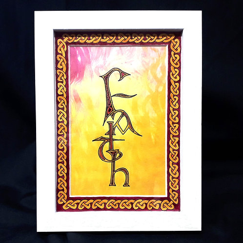 'Faith'. Beautiful, original Celtic artwork in Winsor & Newton inks.