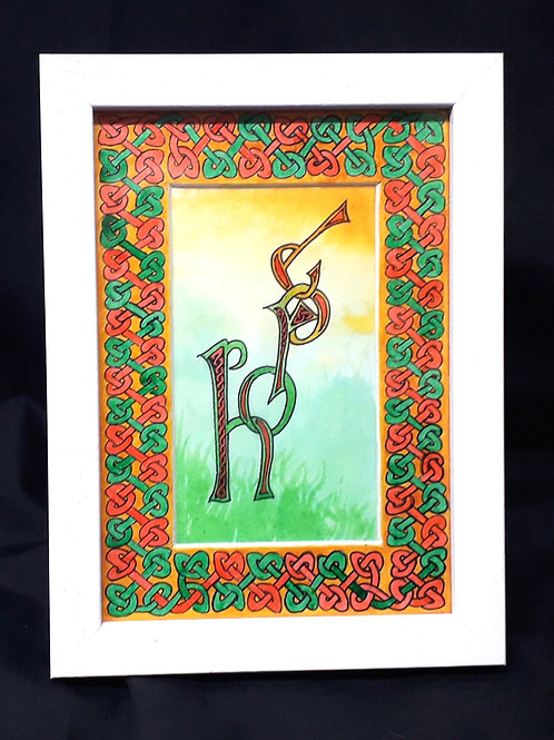 'Hope'. A unique, hand-painted illuminated text with Celtic knotwork border.