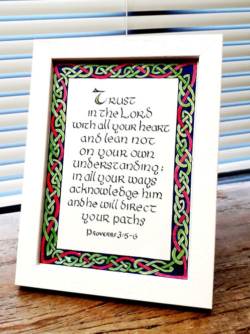 'Trust'. Framed Celtic Print of Proverbs 3: 5-6 available in two sizes