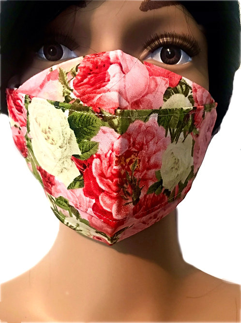 The Pink X White Peony Face Mask