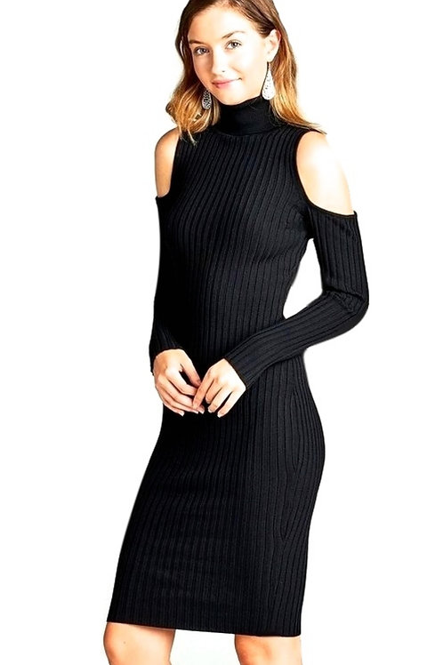 Black  Cutout Shoulder Dress