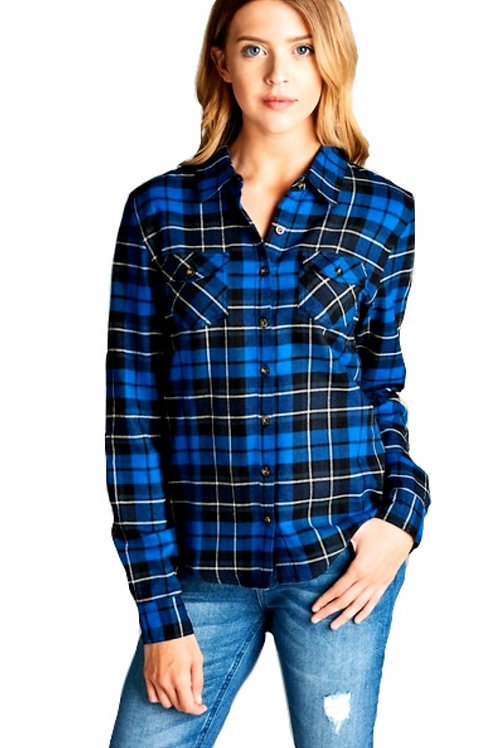 Cobalt Blue and Black Tartan Plaid Shirt