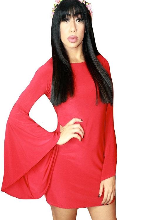 Red Voluminous Bell Sleeve Mini Dress