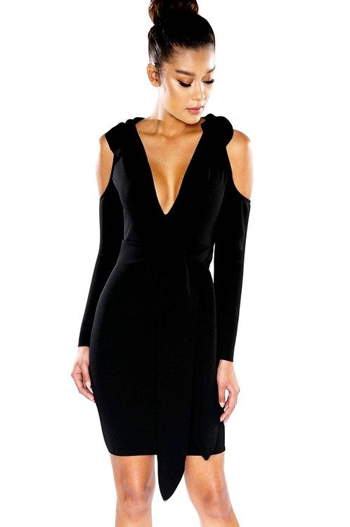 Black Faux Wrap Dress