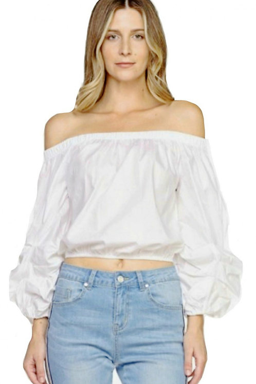 White Off-the-Shoulder Peasant Puff Sleeve Top