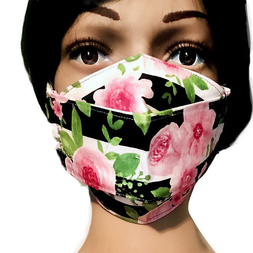 The Stripes X Flowers Face Mask