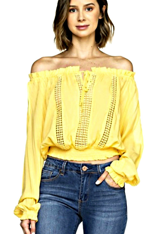 Yellow Off-the-Shoulder Eyelet Top