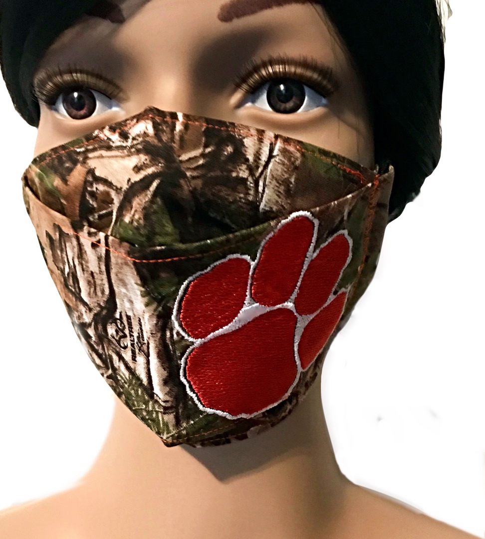 The Clemson Tiger in the Forest Face Mask