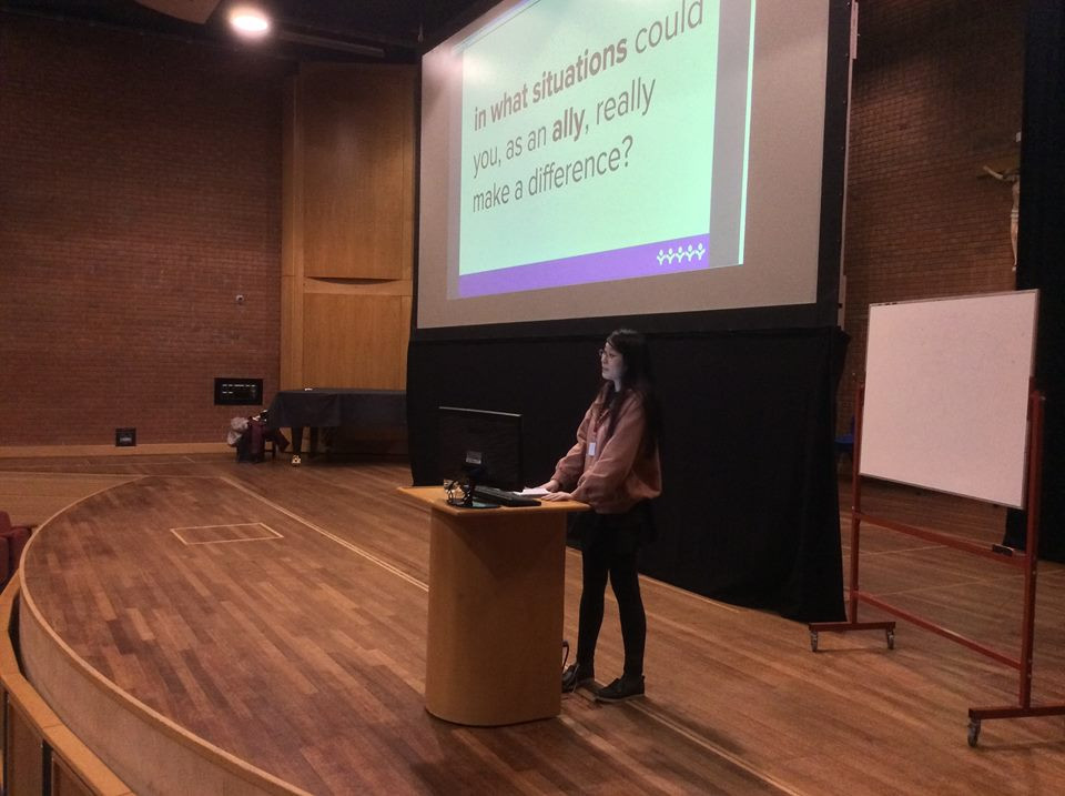 LGBT+ ambassador delivering a session in a school