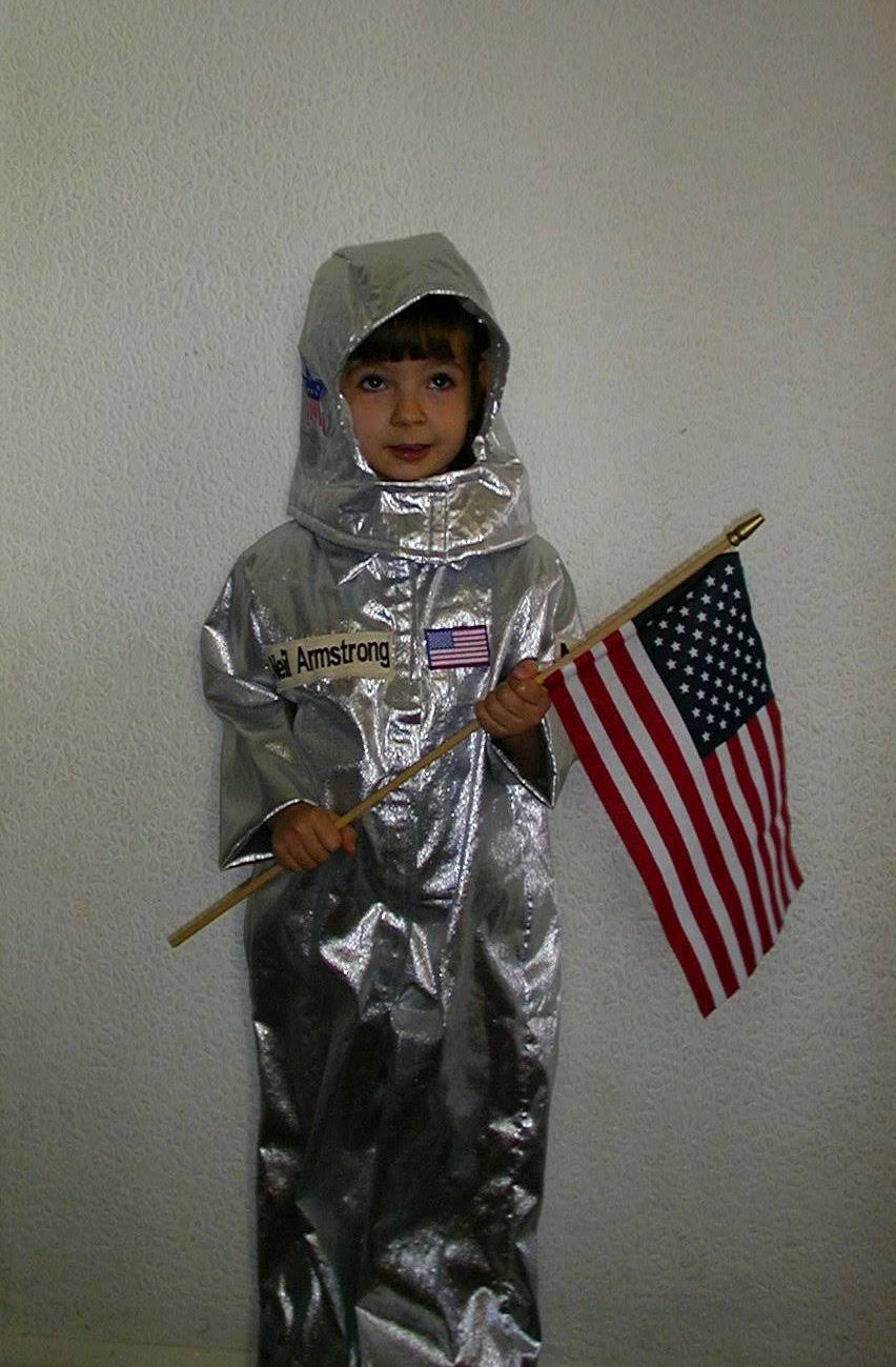A young Roan dressed in an astronaut costume