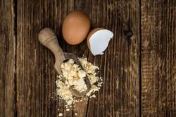 Egg powder spooned