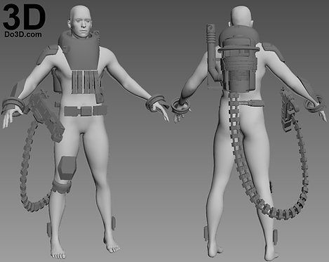 Baze Malbus Armor Suit, Backpack Tank and Blaster Rifle, 3D Model Project #1873
