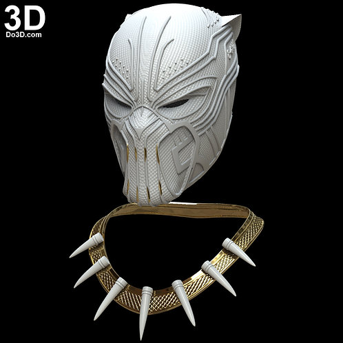 Golden Jaguar Erik Killmonger Helmet and Necklace 2018 | 3D Model Project #4231