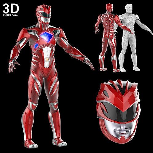 3D Printable Model: Red Ranger 2017 Power Rangers Helmet + Full Armor STL #2276