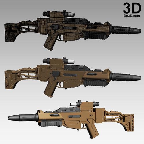 3D Printable Finn's Gun EL-16HFE Resistance Blaster Rifle, 3D Model Project #797