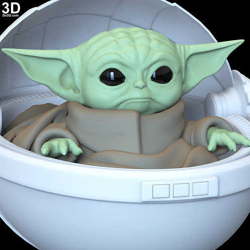The Child Baby Yoda Statue in Crib Basket Mandalorian | 3D Printable Model #6314