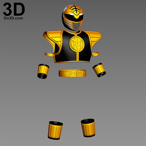 3D Printable Model: White and Gold Mighty Morphin Power Rangers MMPR STL #2352