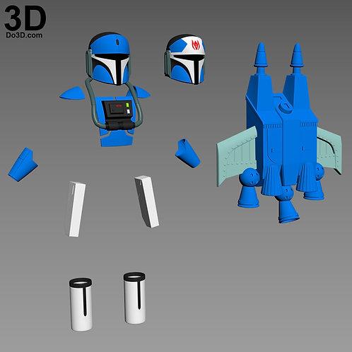 Mando Pilot Star Wars Rebels Strike Missions Armor + Jetpack 3D Printable Model