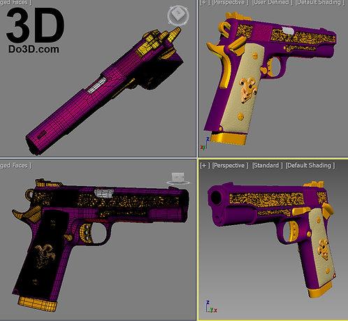 Suicide Squad Joker 1911 Colt Pistol Gun | 3D Printable Model #1938