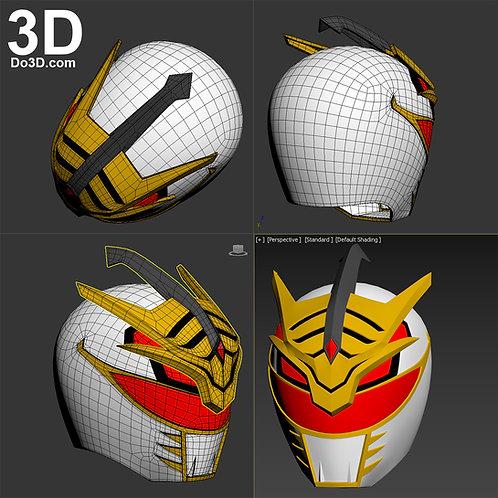 Lord Drakkon Mysterious White Power Ranger Helmet + Coin 3D Model Project #1965