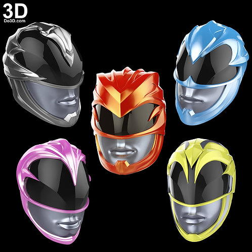Power Rangers 2017 Red Blue Black Yellow Pink 3D Helmet Model Project #1819