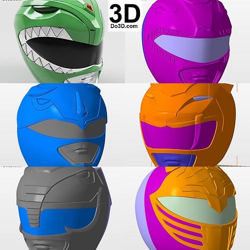 Power Ranger Classic Helmet Pack Mighty Morphin Power Rangers MMPR 3D Model #B27