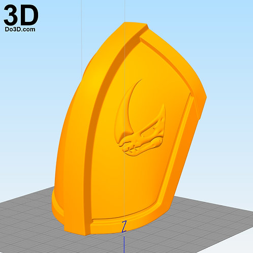 3D Printable Model: Mudhorn Clan of Two Sigil Shoulder Armor Mandalorian Emblem